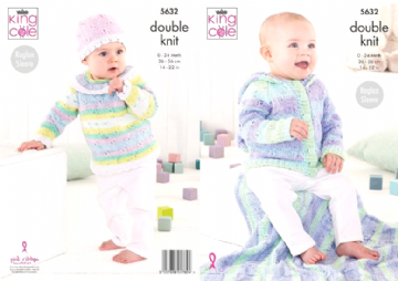 King Cole Baby Top, Hoodie, Hat and Blanket DK Knitting Pattern 5632